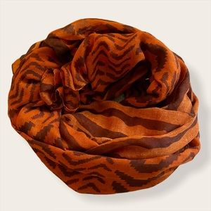 Orange and Brown Striped Pashmina Scarf